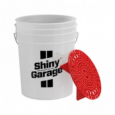 WASH BUCKET SHINY 20L + GRIT GUARD RED