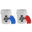 WASH BUCKET SHINY 20L + GRIT GUARD BLUE / RED